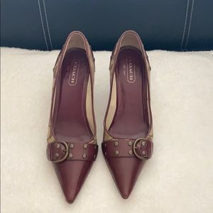 Coach pumps. Maroon red with buckle. Size 6.5